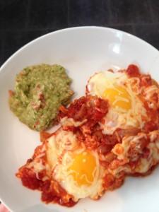 Eggs with guacamole