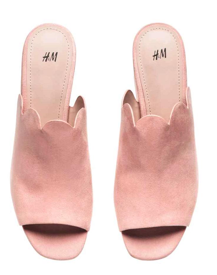 H&M dusky pink mules